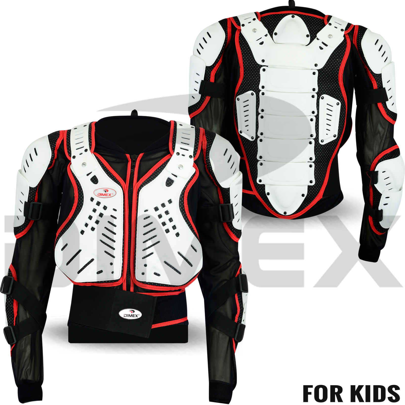 Kids Childrens Body Armour with Knee Protector CE Approved Motocross Motorbike Motorcyle Protection Jacket Motorcycle Body Guard Red, 8